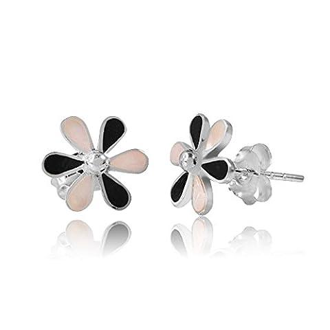MATERIA 925 Silber Ohrstecker Perlmutt Blume weiß schwarz - Perlmutt Ohrringe Blüte Ø10mm inkl. Schmuck Schachtel #SO-162