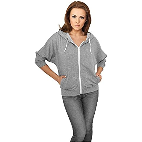 Ladies Bat 3/4 Sleeve Zip Hoody gry/wht