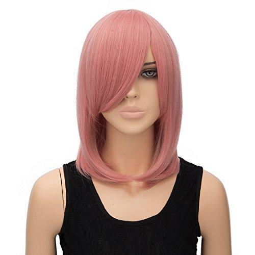priomix 40cm kurz gerade bob Stil Perücke mit Pony Daily Basic Nachtclub Party Kleid bis Anime Cosplay Perücke Haar für ()