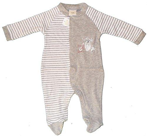 Baby Schlafanzug, Schlafstrampler, Schlafoverall 100% Baumwolle, Jersey, ÖKOTEX (50/56, grau)