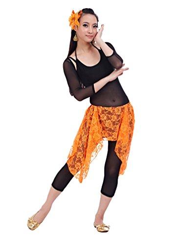 ZhiYuanAN Femmes 4Pcs La Danse Du Ventre Jupes Dentelle Pratique Costume Vêtements Costume De Danse Du Ventre Orange