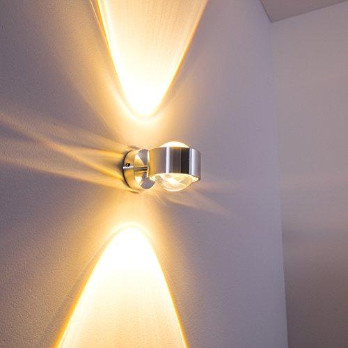 Wandlampe Silber mit besonderem Lichteffekt - dimmbare Metall-Lampe mit Glas-Schirm - indirekte Raum-Beleuchtung für alle Räume