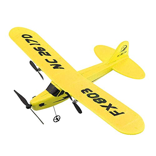 E-CHENG FX803 2CH 2.4G Glider Airplane, Wingspan Remote Control Fighter Fixed Wing with Light EPP RC Airplane Aircraft Toy (Yellow)