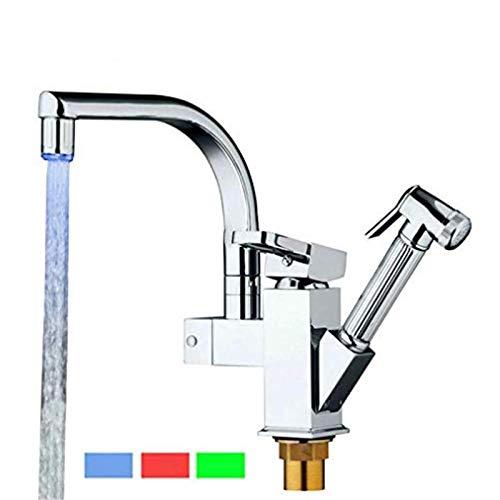 Atemberaubend einfacher Stil Küchen-Lichtmixer Einzelhalterung Küchenarmatur Chrom poliert Pull-Out-Wasserhahn