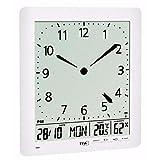 TFA Dostmann Funkuhr mit analoger LCD-Uhr und Raumklima, Kunststoff, Weiß, 21 x 3 x 24 cm