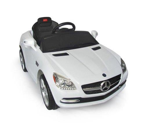 Coche Eléctrico Bateria 6V + Mando Control Remoto para Padres Conexion MP3 Llaves Encendido Luces de Faros y Claxon Mercedes Benz 81200 Blanco Automóviles Infantiles para Niños