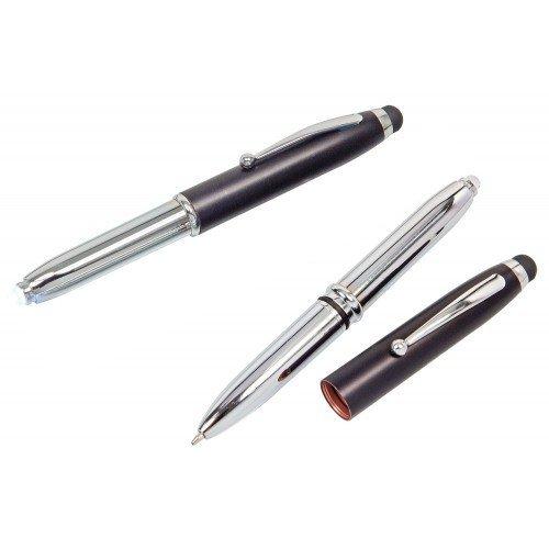 5x Touchpen Kugelschreiber / mit LED Licht und Touchscreenstift / silber-schwarz -