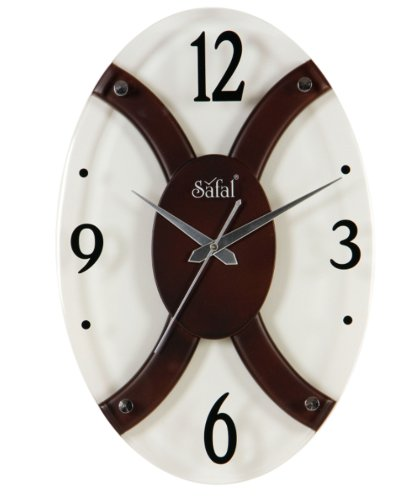 Safal Wooden Wall Clock (35.56 cm x 25.4 cm, Brown)