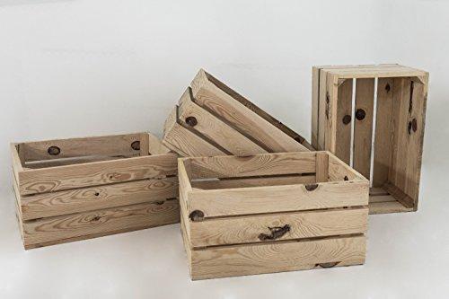 Set 4 cajas tipo fruta de madera de pino nacional acabado natural, beige, cajas con medidas 49x31x24cm aproximadamente. Cajas realizadas con toque antiguo, ideales para transporte, decoración del hogar, hostelería, bodas y decoración en general. Las ...
