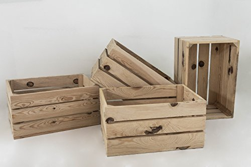 Set 4 Cajas de Madera Pino Sam