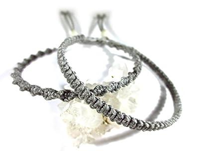 X2 Bracelets brésiliens/amitié/duo/bohème/unisexe/surf/en fil tissage plat et rond gris foncé tissés main en macramé avec du fil ciré Réf.PP+PS208
