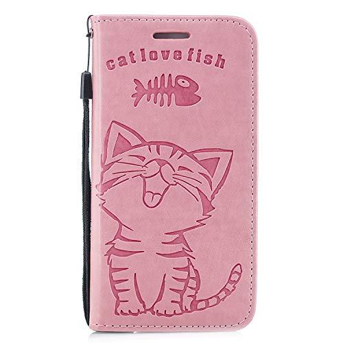 QPOLLY Kompatibel mit iPhone 6 Plus/6S Plus Hülle Leder Tasche Flip Case Schutzhülle Süße Katze Muster Brieftasche mit Kredit Kartenfächer Magnetverschluss Stand Bookstyle Klapphülle Handyhülle,Rosa