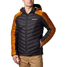 Columbia Men's Hooded Jacket, Horizon Explorer, Shark, Burnished Amber, Large