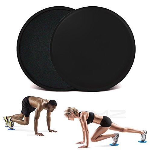 xemz 2x Dual-seitige Gleitscheiben Core Schieberegler, Home Gym Training Trainer, Trainieren Sie Beine Arme Gleiter, Teppich Harte Böden Fitness Equipment, für Full Body Workout Crossfit Cardio Training, Schwarz , Rund