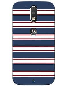 myPhoneMate Blue Red White Seamless Stripe Designer Printed Hard Matte Mobile Case Back Cover for Motorola Moto G4