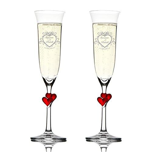 Polar-effekt stölzle lausitz - set di 2 bicchieri da spumante con incisione, con nome e data, idea regalo per matrimonio, motivo: fiori di ibisco sul cuore