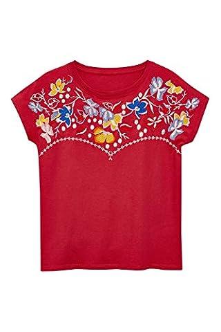 next T-shirt à fleurs brodées Femme Standard Rouge EU 44