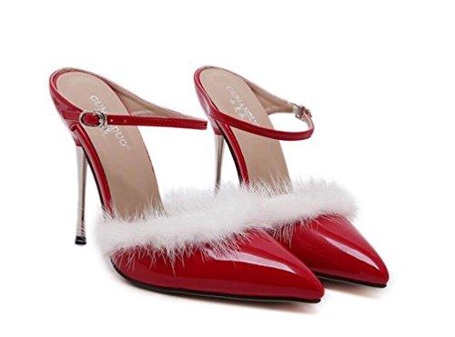 Hochzeits-Knöchelriemen Pumps Scarpin 11cm Fersen-Kaninchen-Haar-Dekoration-Sommer-Damen spitzte Zehe-Schuhe EU-Größe 35-40 Red