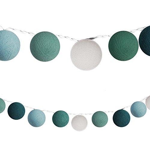 LED Lichterketten bunt 20 Baumwollkugeln (6 cm) CE 3,5m Deko innen Cotton Ball | Baby Nachtlicht...