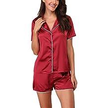 c4a4a5472f Giorzio Damen Satin Schlafanzüge Sommer Nachtwäsche Kurz Pyjama Set  Zweiteiliger V-Ausschnitt Schlafoveralls