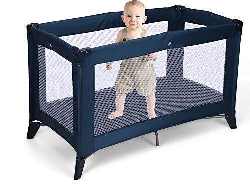 made2trade Faltbares Kinderbett - Gepolsterte Matratze - 120x60x76cm - Blau