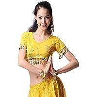 Donne Sexy Danza Tops Danza del ventre Costume Embroidered With Coins corta Top Danzawear Belly Tops