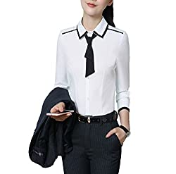 Lettersellerpe Women New White Blue Long Sleeve Blouses Blouse Shirt Women Shirt White S