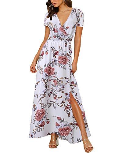 Auxo Femme Maxi Longue Manches Courtes Col V Robe Bohème Fleurie Imprimée Décontractée Dress Casual de Plage Soirée Blanc XL