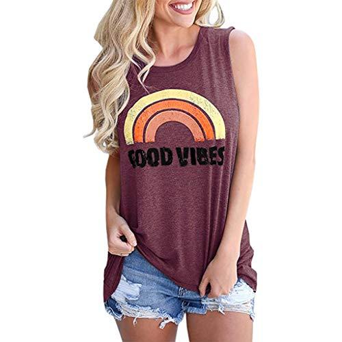 kolila Damen Sommer T-Shirts Tops Ausverkauf Frauen Schulterfrei Rundhalsausschnitt Ärmellose Regenbogen Print Weste Tee Bluse(Wein,XL)