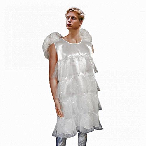Herren Kostüm Engel Gr. L Männerballett Kleid weiß Fasching Karneval