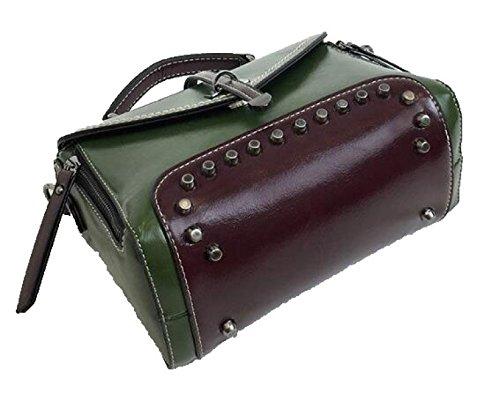 Fabelhaft Europa Und Die Vereinigten Staaten Mode Retro Kleine Paket Nieten Freizeit Schulter Messenger Bag Green