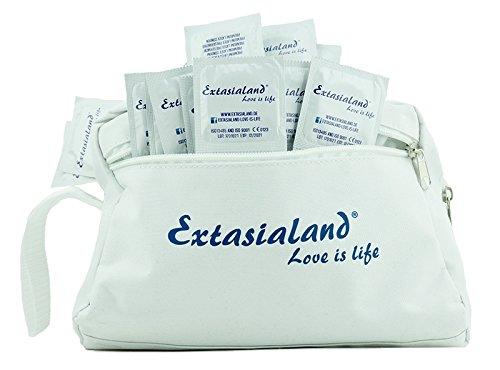 Extasialand Kondome glatt und transparent im passenden schicken Kulturbeutel - Markenkondome im 100-er Pack