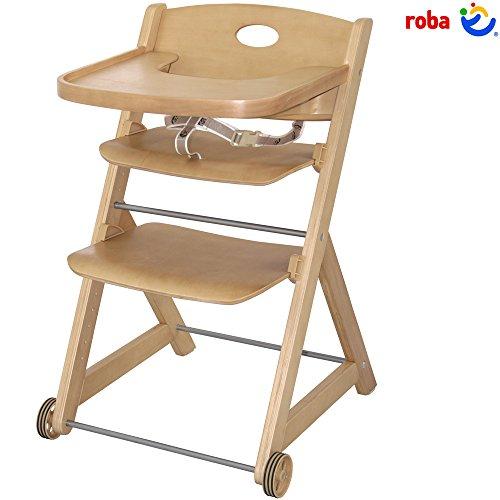 Treppenhochstuhl Jocker, verstellbares Sitz-und Fußbrett, Holz, 3-Punkt-Gurt: Rollen Holz Stuhl Kinder Babyhochstuhl Mitwachsend 80 cm