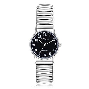 Armbanduhr Damen Ronamick Mode Damen Unisex Edelstahl Quarz Armbanduhr Paar Uhr Armband Armbanduhr Uhr Uhren(A)