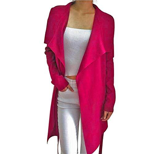 Occitop Solid Color Elastic Cardigan Tops Lapel Woolen Coat Women Outwear (Red S) Womens Top Coat