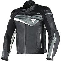 Dainese Veloster Leder Motorradjacke, Schwarz/Anthracite/Weiß, Größe 54