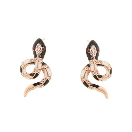 Frauen Schmuck Mode Ohrringe Strass Rose Gold Black Snake Stud Earings (Snake-ohrring-stud)