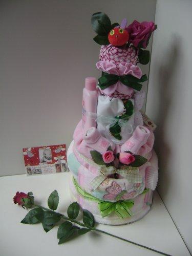 Very Hungry Caterpillar Baby Girl-Pannolino per dolci a 4 ripiani, su un letto di fiori decorativa con splendido & leaves & pearl beads