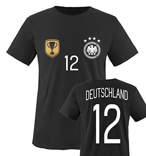 Trikot - Deluxe 2016 - Deutschland - 12 - Kinder T-Shirt - Schwarz/Weiss-Gold Gr. 110-116