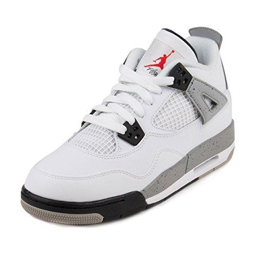 Nike Air Jordan 4 Retro OG BG, Zapatillas de Deporte para Niños, Blanco / Rojo / Negro (White / Fire Red-Black-Tech Grey), 39 EU