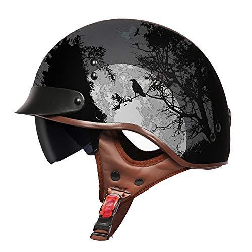 H_y Open Face Cruiser Vintage Helm, Visier Schutzohr Sonnenbrille Retro Style Lokomotive Männlich Elektro Motorrad Batterie Halbhelm,L