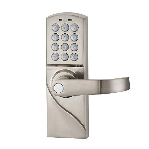 HAIFUAN Bloqueo de puerta con cerradura de mano derecha digital con llaves de respaldo, entrada electrónica sin llave por combinación de código de contraseña