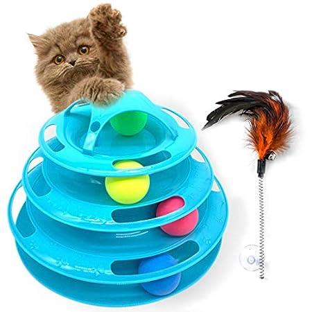 Interaktive Katzenspielzeug mdash; FourLayer Kreisspur mit 4 beweglichen Kugeln Cat Plattenspieler und ein Feder…
