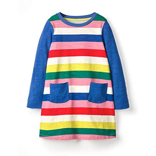 Mädchen Kleider Herbst Kleidung Langarm Baumwolle T-Shirt Kleid mit Farbe Streifen Freizeit Rock/4T - 4t Rock
