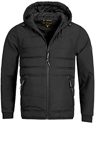 Indicode Herren EL Paso Kapuzenjacke Übergangsjacke Softshelljacke Regenjacke Jacke Funktionsjacke mit Kapuze Black XXL