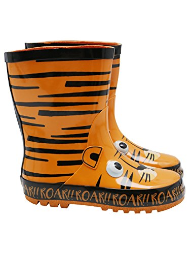 M&Co Kids Boys Orange and Black Tiger 3D Eye Slogan Gripped Sole Wellington Boots