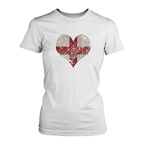 EM 2016 I Love England - Damen T-Shirt von Fashionalarm | Shirt für Fußball Fans | Print im Vintage Destroyed Used Look | Europameisterschaft Europameister Trikot Herz Weiß