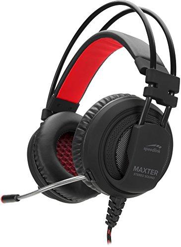 Speedlink Gaming Kopfhörer für PS4 - MAXTER Stereo Headset 3,5mm Klinke (voluminöse Bässe - Gepolsterte, ohrumschließende Ohrmuscheln - Kopfhörer-Frequenzgang: 20Hz – 20kHz) Kabellänge 1,2 m schwarz thumbnail