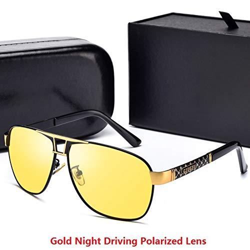 LKVNHP New Hochwertige Mode Polarisierte Sonnenbrille Für Männer Sonnenbrille Mann Marke Photochrome Anti Reflexion Übergroßen 148Mm Tag Nacht FahrenSchwarz Gold Gelb