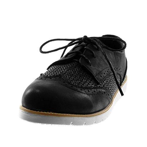 Angkorly Scarpe Moda Scarpa Derby Suola di Sneaker Donna Perforato Lucide Tacco Tacco Piatto 2.5 cm Nero